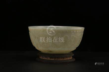 Chinese carved jade bowl.