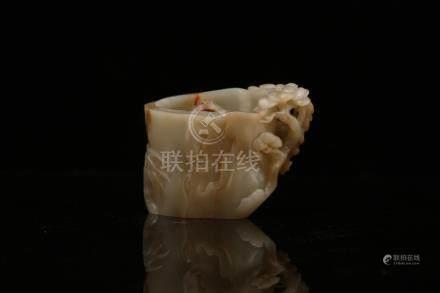 Chinese carved jade brush pot.