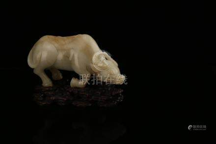 Chinese carved jade figure of a bull.