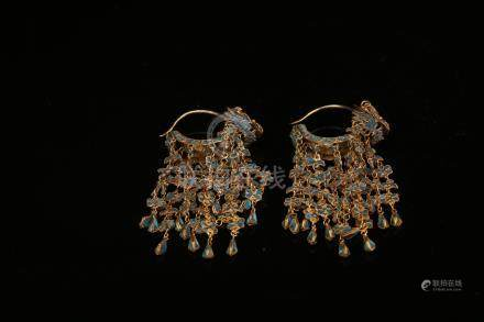 Pair of Chinese green earrings.