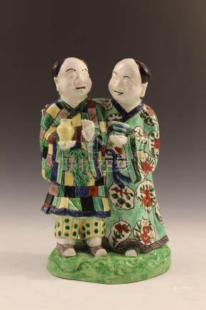 Chinese porcelain figure of two men.