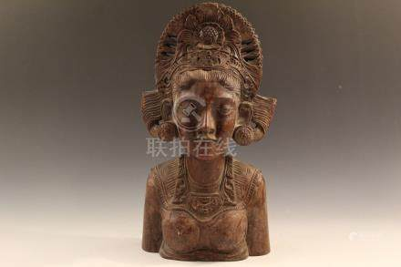 Chinese Carved wood bust. .
