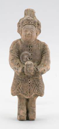 CHINESE POTTERY TOMB FIGURE In the form of an attendant hold