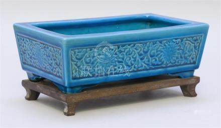 CHINESE TURQUOISE GLAZE PORCELAIN PLANTER In rectangular for
