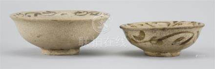 TWO THAI SUKHOTHAI WARE POTTERY BOWLS Both with brown floral