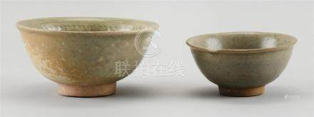 TWO THAI SAWANKHALOK CELADON POTTERY BOWLS 1) With incised f