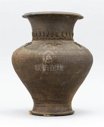 CHINESE ARCHAIC-STYLE POTTERY VASE In baluster form with bul