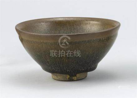 "CHINESE BLACK AND BROWN ""HARE'S FUR"" GLAZE BOWL Diameter 4.7"