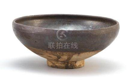 CHINESE BLACK-BROWN POTTERY BOWL With oil-spot glaze. Diamet