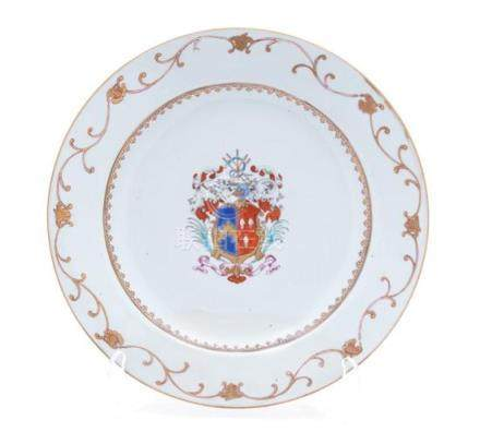 A Chinese Export Armorial Porcelain Plate