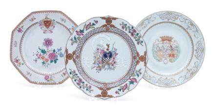 Three Chinese Export Armorial Porcelain Plates