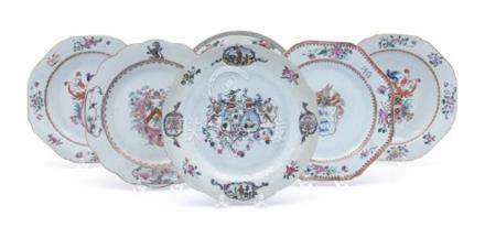 Six Chinese Export Porcelain Armorial Plates