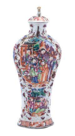 A Chinese Export Mandarin Palette Vase and Cover