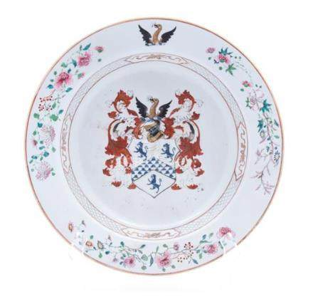 A Chinese Export Armorial Porcelain Basin