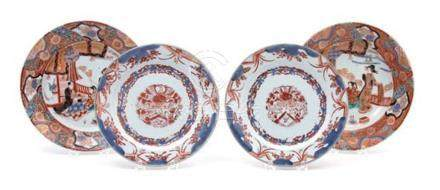 A Pair of Chinese Export Imari Porcelain Plates and a Pair o