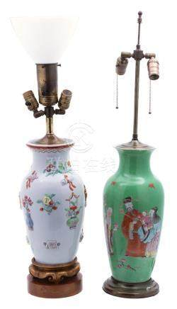 Two Chinese Porcelain Vases Mounted as Lamps