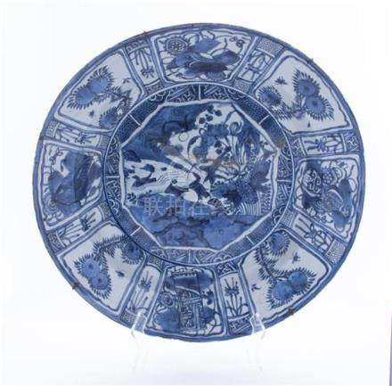 A Large Kraak Blue and White Porcelain Dish