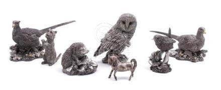 A Group of Six Country Artists 'Silver Filled' Animals