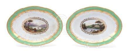 A Pair of English Porcelain Oval Dishes