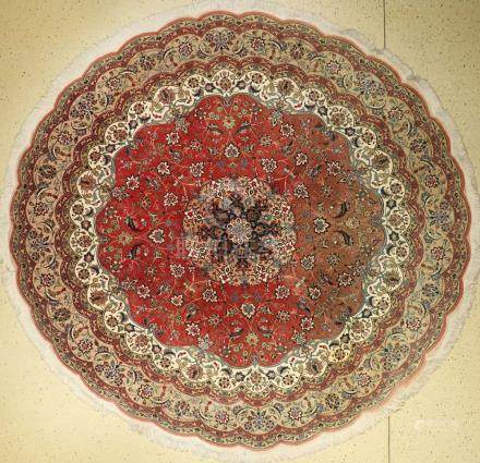 Fine Tabriz 'Round Rug' (Part-Silk),