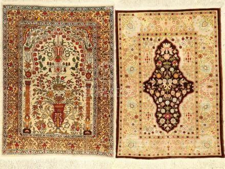 (2 Lots) Silk Hereke Rugs,