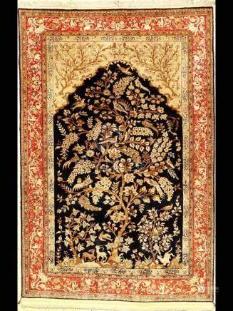Fine Silk Qum Rug (Tree Of Life),