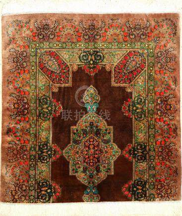 Very Fine & Unique Silk Qum 'Wagireh' Rug (Pattern Template)