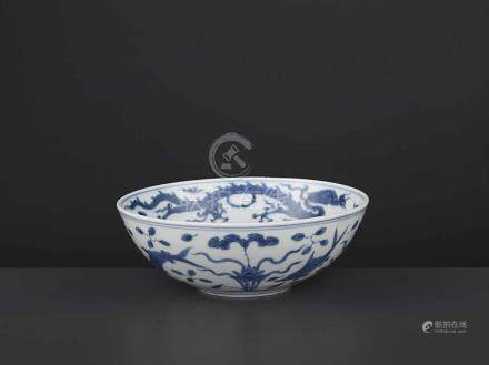 A JIAJING MARK & PERIOD 'REBUS' BOWLChina, 1522-1566. Freely painted in shaded tones of cobalt
