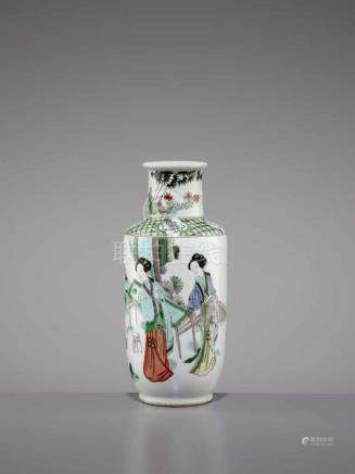A FAMILLE VERTE VASE, QING DYNASTYChina, 18th-19th century. The bangchuiping with a bamboo-shaped