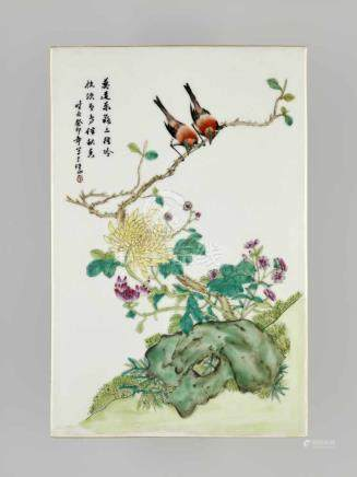 AN AUTUMN PLAQUE, PORCELAIN, 1903 China, cyclical dating guimao (1903). Painted in vivid Famille