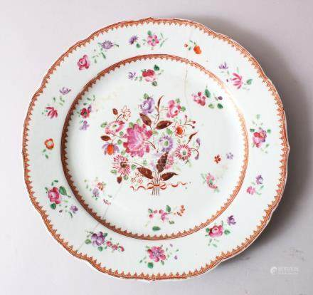 AN 18TH CENTURY CHINESE FAMILLE ROSE PLATE, floral decoration with gilt decorated borders, AF,