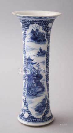 A SMALL 18TH CENTURY CHINESE BLUE & WHITE GU VASE, decorated with Chinese landscape scenes, 18.6cm