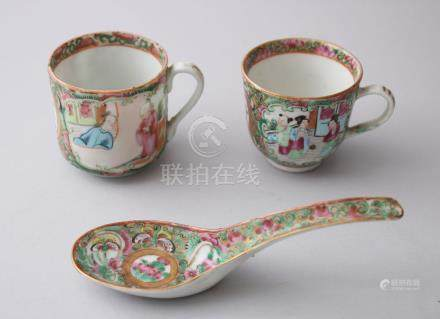 A GROUP OF THREE 19TH CENTURY CHINESE CANTON EXPORT FAMILLE ROSE PORCELAIN CUPS & SPOON, cups 5.