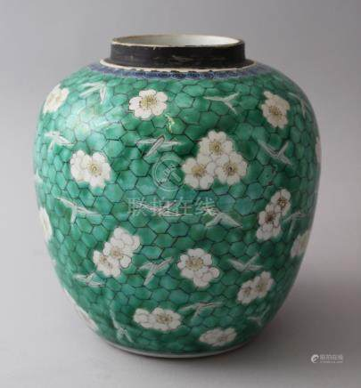 AN 18TH / 19TH CENTURY CHINESE KANGXI STYLE GREEN GROUND GINGER JAR, a green ground decorated with