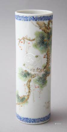 A CHINESE REPUBLICAN BLUE & WHITE CYLINDRICAL PORCELAIN BRUSH POT, with painted enamel scenes of