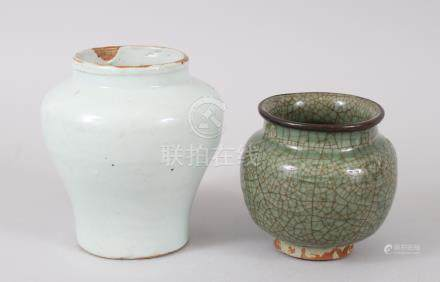 TWO 18TH CENTURY CHINESE PROVINCIAL POTS / JARS, one with crackle glaze (longquan) and a metal