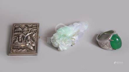 A MIXED LOT OF CHINESE ITEMS, consisting of one jadeite pendant in the form of a flower, 5cm , one
