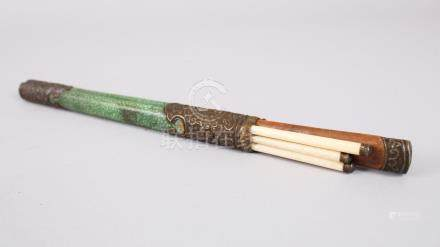 A SET OF ORIENTAL CHOPSTICKS & KNIFE IN SHAGREEN AND METAL CASE, the shagreen holder mounted with