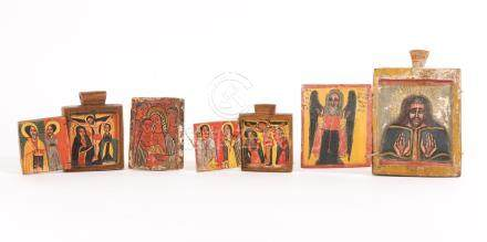 Group of Ethiopian Coptic Painted Wood Icons and Triptychs, 17th/18th Century and later A3WCE