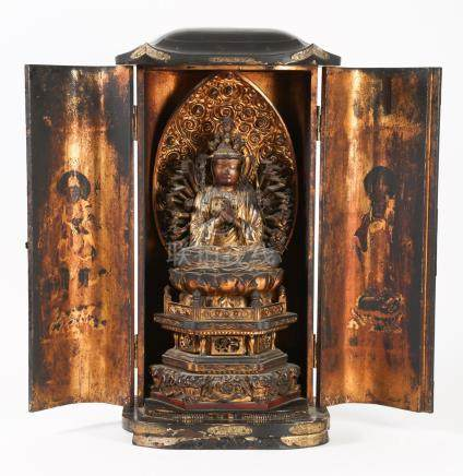 Large Japanese Lacquered Wood Shrine with a Figure of Multi Armed Kannon, Zushi, Edo Period A3WCJ