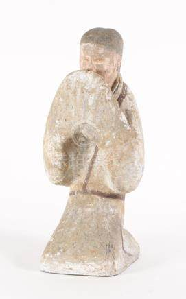 Chinese Painted Pottery Kneeling Figure, Han dynasty  A3WCC