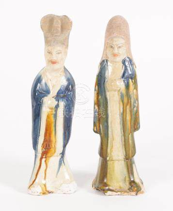 Two Chinese Sancai and Blue Glazed Pottery Figures, Tang Dynasty  A3WCC