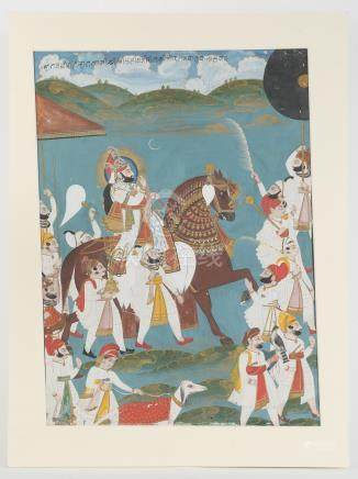 Indian Painting, Gouache on Paper, Equestrian Portrait, probably Maharaja Bhim Singh A3WCI