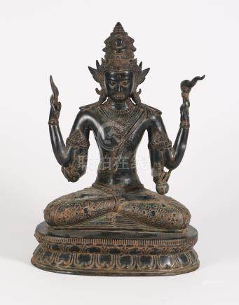 Southeast Asian Bronze or Copper Alloy Seated Figure of a Deity, 20th Century/Modern  A3WCE