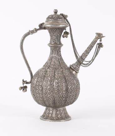 Mongolian Repousse Silver Alloy or Metal Ewer and Cover, 20th Century A3WCM