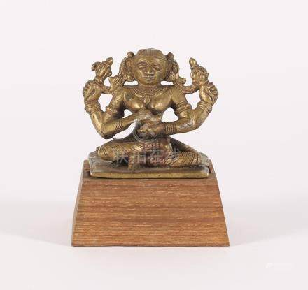Indian Seated Bronze Four Armed Figure of a Deity A3WCI