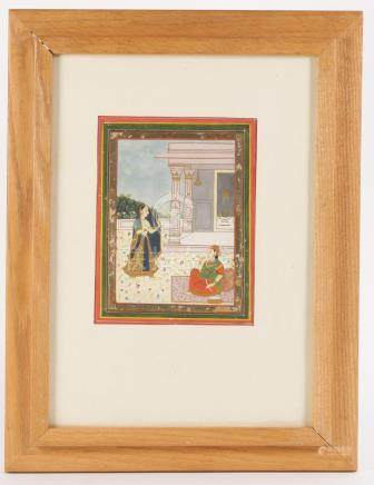 Indian Miniature Painting, Gouache with Gilt Pigments on Paper, Jaipur, Rajasthan   A3WCI