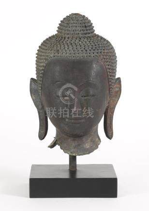 Northern Thai Bronze Buddha Head, 17th Century  A3WCE