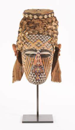African Painted Wood, Woven and Shell Ceremonial Mask, Kuba, Congo, Early 20th Century  A3WCE