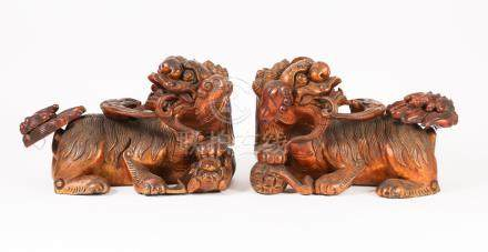 Pair of Chinese Lacquered Wood Buddhistic Lions  A3WCC